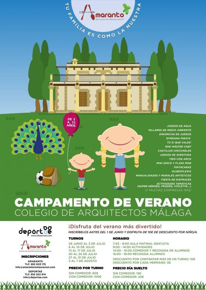 Cartel Campamento de verano COL. ARQUITECTOS Deportae - Amaranto 2015